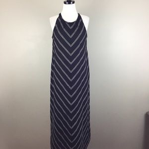 J. Crew New Black Chevron Striped Maxi Dress Linen